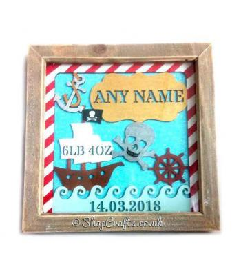 Pirate Birth Details Sampler Box Frame Plaque