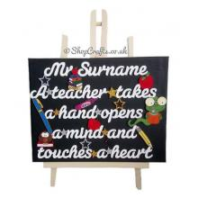 Personalised A Teacher Takes a Hand, Opens a Mind, and Touches a Heart Quotation with School Icons