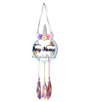 Personalised Name Unicorn Dream Catcher with Hanging Feathers