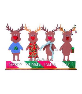 Personalised Christmas Reindeer Family on Stand