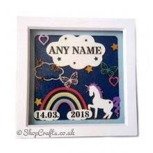 Unicorns and Rainbows Birth Details Sampler Box Frame Plaque