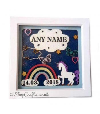 Unicorns and Rainbows Birth Sampler Plaque