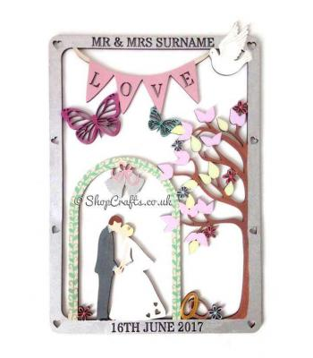 Personalised Die Cut Wedding Plaque with Stencil Cut Name and Date.