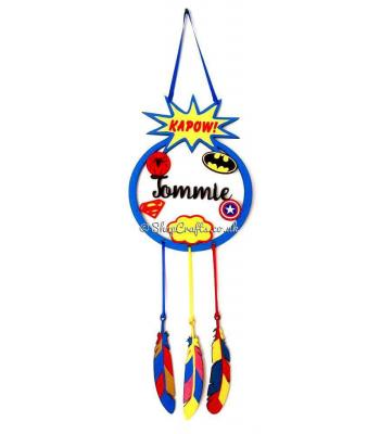 Personalised Superhero Motif Dream Catcher with Hanging Feathers