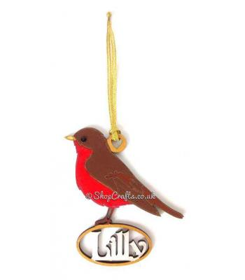 Detailed Personalised Robin Red Breast Christmas Tree Bauble