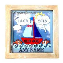 Seaside Sailing Boat Birth Details Sampler Box Frame Plaque
