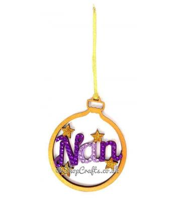 Family Named Christmas Tree Bauble with Stars