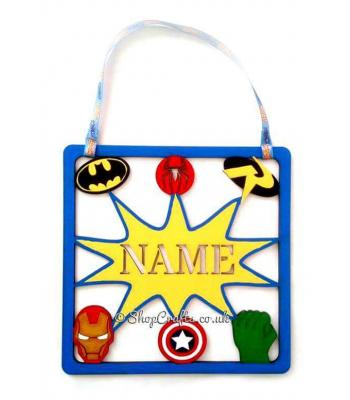 Superhero Frame Personalised Door Hanging Plaque