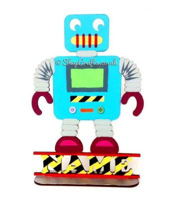 Robot Shape on Stand Personalised with Name * More Designs Available