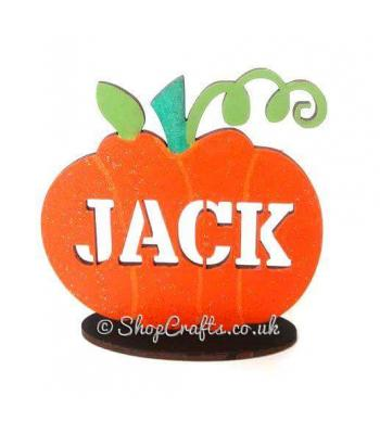 Carved Personalised Name Pumpkin on Stand
