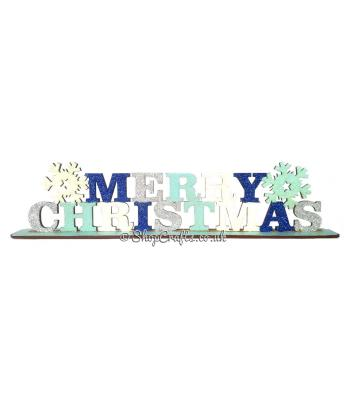 Merry Christmas Sign with Snowflakes on stand