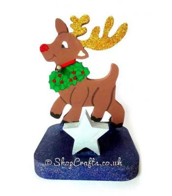Rudolph Reindeer 18mm thick freestanding Reusable Stocking Holder