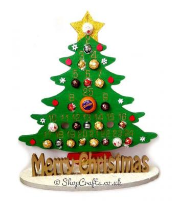 Super sized 18mm thick Freestanding Christmas Tree Advent Calendar for Chocolate