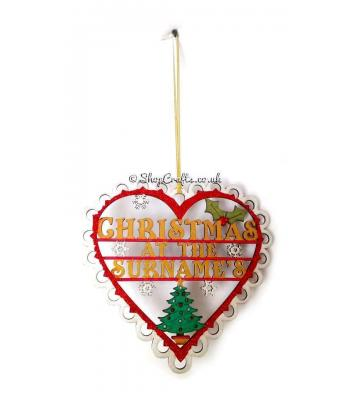 Die Cut Lace Heart Christmas at the Family's Name Hanging Sign