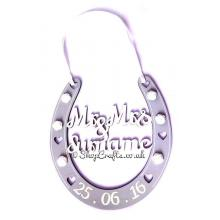Personalised Wedding Details Hanging Horseshoe Gift