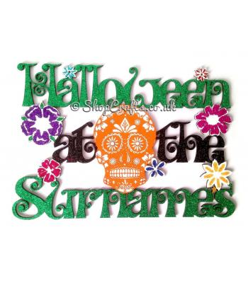 Halloween at the 'Surname' Hanging Sign with Detailed Sugar Skull and Flowers.