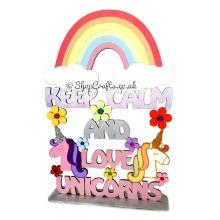 Keep Calm and Love Unicorns on a stand* More Designs Available