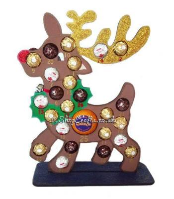 Reusable Reindeer 6mm Thick Ferrero Rocher / Lindt & Terry's Chocolate Orange Advent Calendar