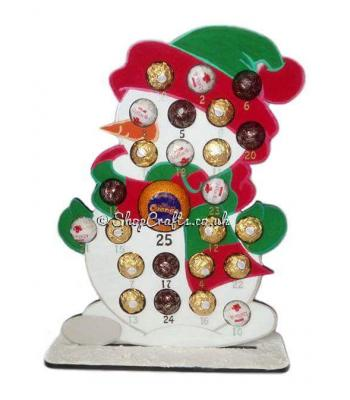 Reuseable Snowman 6mm Thick Ferrero Rocher / Lindt & Chocolate Orange Advent Calendar