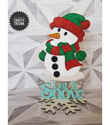 'Let it snow' 3D Snowman on a stand
