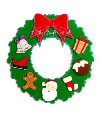 Hanging Christmas Wreath with 3D Bow and Christmas Shapes