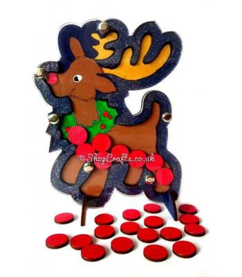 Freestanding Reusable Reindeer Countdown or Reward Drop Box.