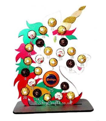 Reuseable Unicorn 6mm Thick Ferrero Rocher/Lindt Chocolate & Terry's Orange Advent Calendar