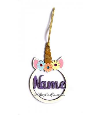 Personalised Unicorn Head Christmas Bauble