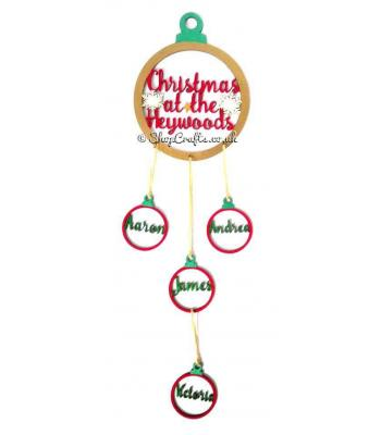 Personalised Christmas at the Surname Bauble Dream Catcher with hanging Family Member Baubles