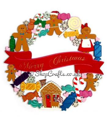 Detailed Hanging Merry Christmas Gingerbread and Sweeties Wreath