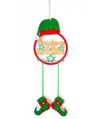 Christmas At the Surname Hanging Elf feature Dream Catcher with Dangling Elf Boots