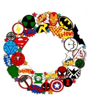 Detailed Superhero Logo Hanging Wreath