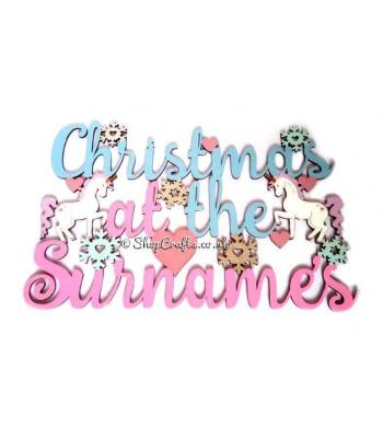 Personalised Christmas at the Surname with Unicorns and Scattered Snowflakes Hanging Sign