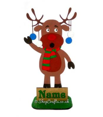 Personalised Freestanding Singing and Hanging Baubles Family Reindeer Character