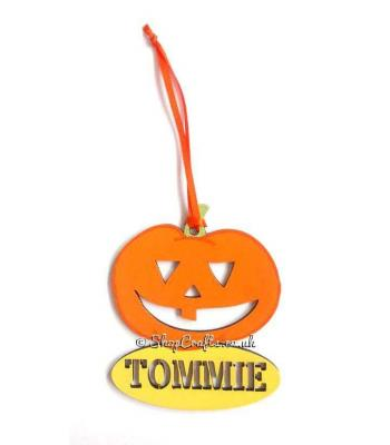 Personalised Pumpkin Halloween Tag and Reusable Decoration *More Designs Available