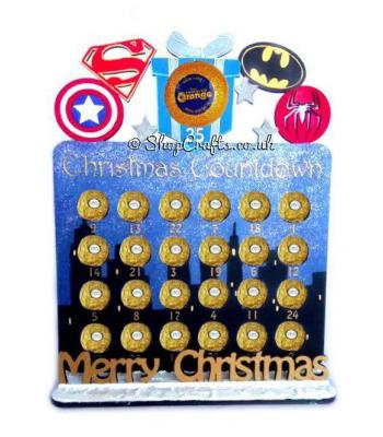 Reusable Superhero 6mm Thick Ferrero Rocher / Lindt Chocolate advent calendar with Merry Christmas