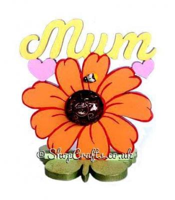 Mum's Flower 6mm Thick Ferrero Rocher, Lindt, or Mini Bath Fizz Holder on a Butterfly Stand
