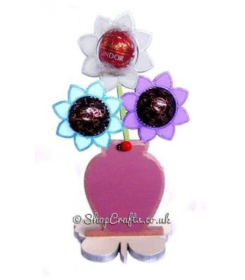 Flower Pot 6mm Thick Ferrero Rocher, Lindt, or Mini Bath Fizz Holder on a Butterfly Stand