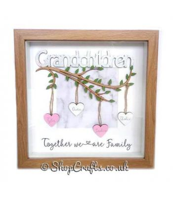 Grandchildren Box Frame Branch with hanging personalised hearts - More Designs Available