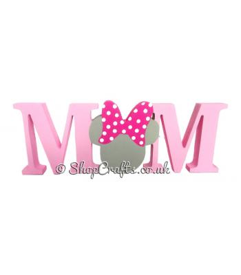 18mm Freestanding Mum Word with Mouse head with a Bow replacing the U *More Designs Available
