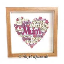 Mum Personalised Female Family Name Word Collage in an Oak Box Frame *More Designs Available