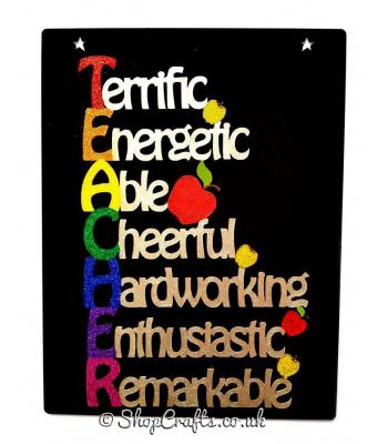 Hanging 'TEACHER' Acrostic Word Quote Sign
