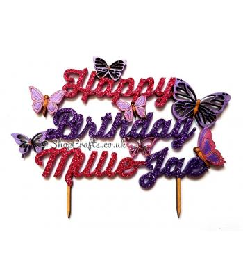 "5"" Personalised Happy Birthday with Butterflies Cake Topper - More Designs Available"