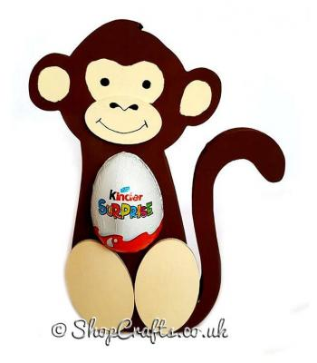 Freestanding Monkey Kinder Egg Holder with 3D Nose and Feet - More Designs Available.
