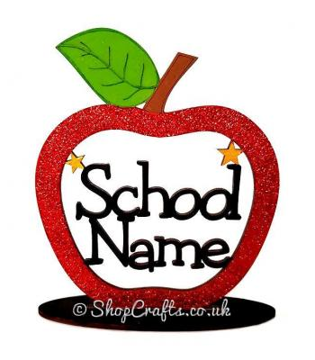 Personalised School Name Apple On Stand - More Designs Available