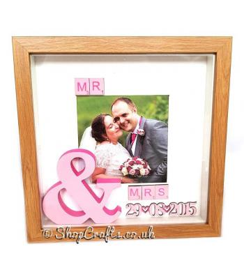 Mr & Mrs Scrabble Tile Photo Box Frame