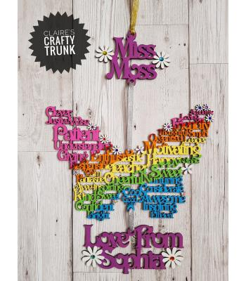 Personalised Teachers Hanging Word Art Butterfly - Other Designs Available