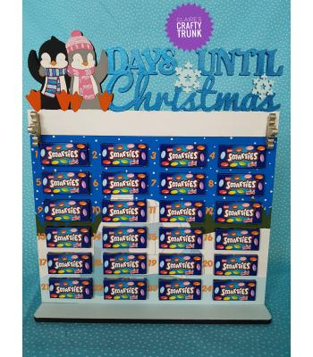 Days Until Christmas with Penguins Smarties Treat size Advent Calendar - More Designs Available