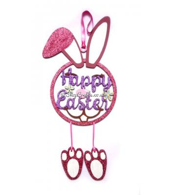 'Happy Easter' Rabbit Dream Catcher with Hanging Feet