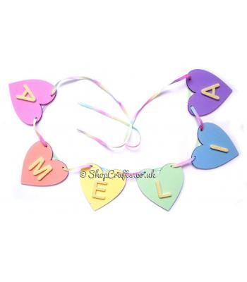 Personalised hanging Pastel Rainbow Heart Bunting - More Designs Available